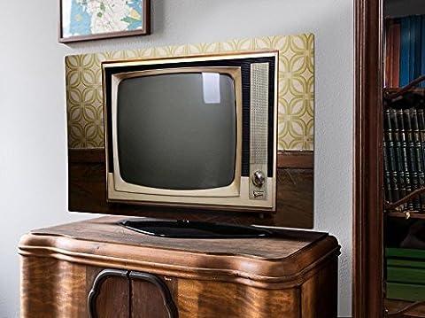 screencover - Abdeckung für Ihren Flatscreen, alle Zollgrößen möglich, Material Hartschaum weiß, mit Motiv Schwarzweiß TV, Größe 42'' TV (105cm x