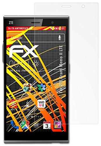 ZTE Grand Memo II LTE Displayschutzfolie - 3 x atFoliX FX-Antireflex-HD hochauflösende entspiegelnde Folie