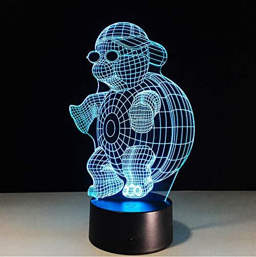 Schildkröte mit Sonnenbrille 3D führte Nachtlicht-Lampe 7 Farben, die Noten-Nachtlicht für Kind-Steigungs-Neuheits-Beleuchtung ändern
