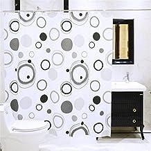 PEVA El plastico Cortina de la ducha Blanco Circulo Bobina Manchas Patrón No transparente Textil Lavable Impermeable Baño Baño Con Suficiente Anillos Manos , 180*180cm