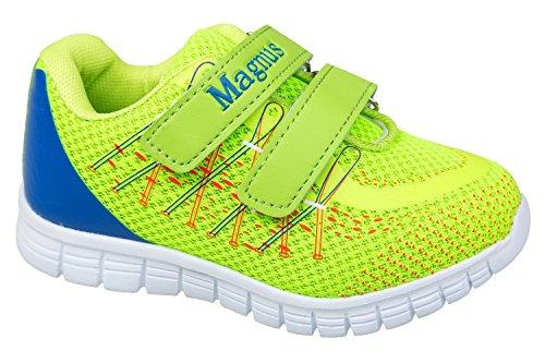 GIBRA® Enfants Chaussures de sport, avec fermeture velcro, vert fluo/bleu Taille 25–30 Vert - neongrün/blau
