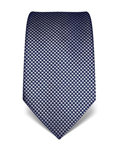 Vincenzo Boretti Herren Krawatte reine Seide Hahnentritt Muster edel Männer-Design gebunden zum Hemd mit Anzug für Business Hochzeit 8 cm schmal/breit dunkelblau/weiß