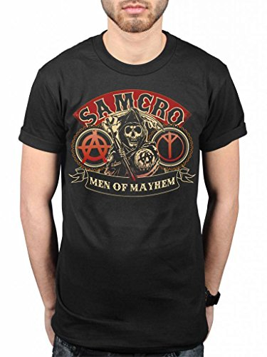 Official Sons of Anarchy Samcro Men of Mayhem Reaper T-Shirt Jax Teller Motorcycle Club Clay