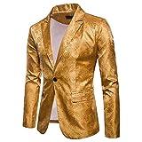 Logobeing Chaqueta de Traje para Hombre, Hombres de Encanto Casual Un Botón Apto Traje Blazer Chaqueta de Abrigo Tops(M,Amarillo)