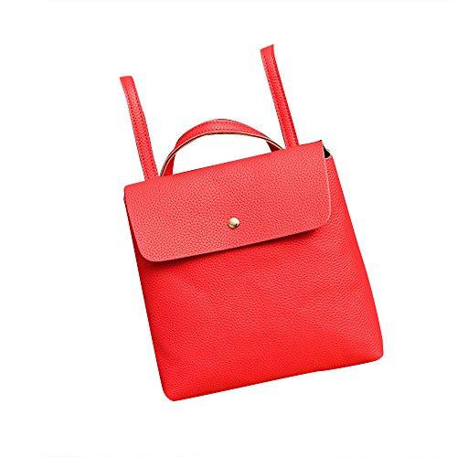 Longra Zaino signora Leather Satchel spalla Rosso