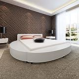 SENLUOWX - Struktur Bett 180x 200cm rund Kunstleder weiß