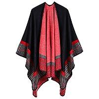 Aivtalk Womens Poncho Scarf Reversible Oversized Poncho Cape Printed Blanket Shawl Cardigans Black