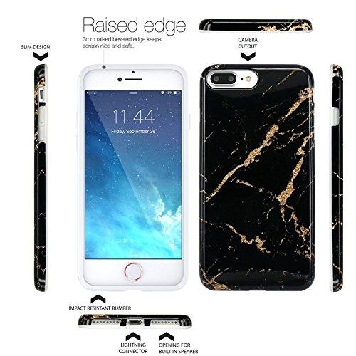 Coque iPhone 7 Plus, Coque iPhone 8 Plus, JIAXIUFEN Silicone TPU Étui Housse Souple Antichoc Protecteur Cover Case - Rose Bleu Marbre Désign Noir Or