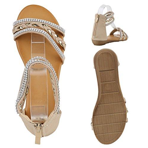 Damen Keilabsatz Sandalen | Riemchensandalen Strass | Sandaletten Wedges Glitzer | Blumen Metallic Flats | Sommerschuhe Creme Steinchen