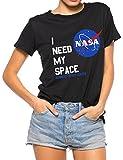YUHX Cuello Redondo de Manga Corta para Mujer I Need My Space Camiseta con Estampado gráfico de la NASA Tops