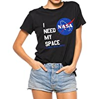 Nlife Women Fashion I Need My Space Shirt NASA Shirt Women NASA T Shirt Short Sleeve Tee Black