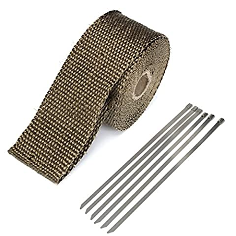 50mmx5m exhaust Heat Wrap Insulation Pipes Tape Titanium Glass Fiber with 6Stainless Ties