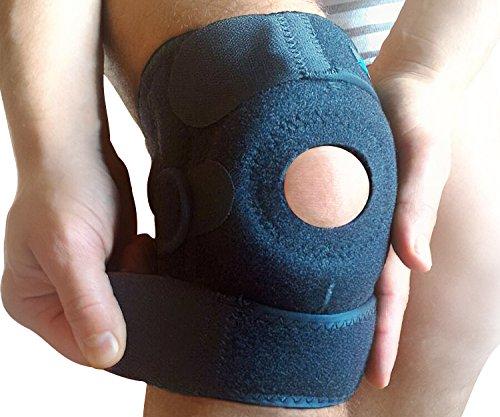 WITKEEN Kniebandage - Schont das Knie bei Arthritis, Tendonitis, bei Verstauchungen oder beim Sport - Schützt vor weiterer Schädigung des Knies - Ohne Hautirritation - Bequem auch bei täglichem Gebrauch. (Camo Jugend-blau)