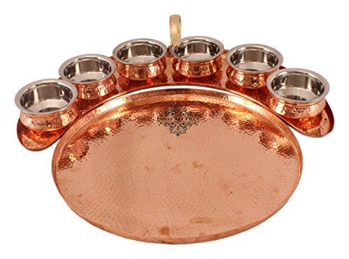 IndianArtVilla Copper Designer Tray Plate with 6 Sauce Pots | For Serving Dishes Hotel Restaurant | Gift item