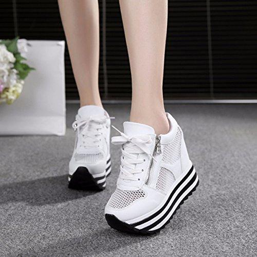 GTVERNH Damenschuhe/Sommer/Im Die Gaze Sportschuhe Dicke Hintern Hoch Rein Mesh - Schuhe Atmungsaktiv Damenschuhe 10Cm Super - High - Heels Casual Schuhen.37 Weiße (White Satin Wedge Schuhe)