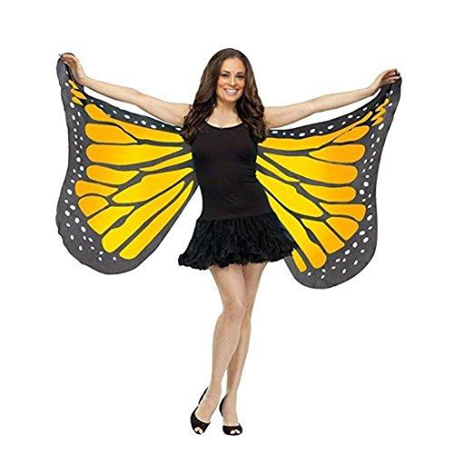 Schmetterling Kostüm Dasongff Frauen Schmetterlings Flügel Schal Damen Kostüm Verkleidung für Karneval Fasching Halloween Parties (147 * 70CM, Gelb)