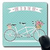 Luancrop Mousepad per Computer Bouquet da Sposa Carino Cestino della Bicicletta Fiori pieni Moderno Vacanze in Bicicletta Tandem Air Design Insieme Tappetino per Mouse da Gioco oblungo Antiscivolo