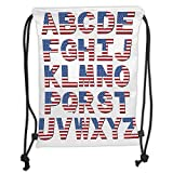Drawstring Backpacks Bags,Letters,Alphabet Letters with American Flag Patterns Loyalty Nationality Patriotic USA Decorative,Red Blue White Soft Satin,5 Liter Capacity,Adjustable St
