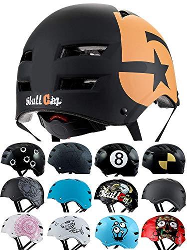 SkullCap® BMX Helm - Skaterhelm - Fahrradhelm - Herren Damen Jungs & Kinderhelm, schwarz-orange, Gr. M (55 - 58 cm), No. 5