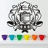xlei Wandaufkleber Chef Abzeichen Wandaufkleber Ausgangsdekor Wandbild Kunst Aufkleber Kessel Auf Dem Gasherd Wandaufkleber Vinyl Küche Esszimmer Aufkleber66x58 cm