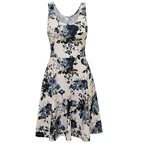 Casual Lady Print O-Ausschnitt Floral Weste ärmelloses Minikleid Sommerkleider Vintage Boho Blumen Kleid Neckholder Printkleider Partykleider Strandkleider ()