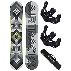 Airtracks Snowboard Set – CUBO Snowboard Wide + Snowboardbindung Savage + Snowboard Bag / 159 161 165 168 171 cm