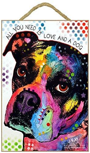 SJT (sjt78220) Boxer-All You Need is Love and a Dog 17,8x 26,7cm Holz Plakette/Schild mit Das Artwork von Dean Russo - Dean Russo Artwork