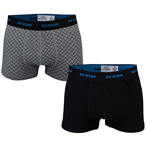 mens-ben-sherman-mens-2-pack-howard-trunks-in-black-grey-m
