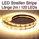 LED Strip Streifen WARMWEISS ca. 2 Meter 120x LEDs PCB weiss
