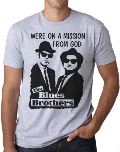 OM3 - BLUES BROTHERS - MISSION FROM GOD - T-Shirt JAKE and ELWOOD BLUES USA, S - 5XL Grau Meliert