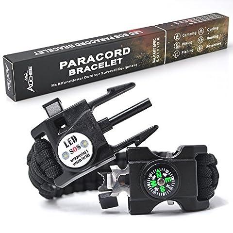 Bracelet paracord de secours SOS de Auchee LED, l'ultime équipement de tactique de survie 15 en 1, parfait pour faire du vélo, randonnée, camping, pêche, chasse. L noir