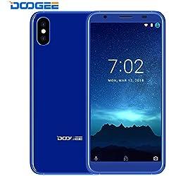 """Moviles Libres Baratos - DOOGEE X55 - 5.5"""" HD + 18:9 Pantalla Smartphone Android 7.1 - Teléfono Dual SIM con Dual 8.0MP Cámara Trasera - 2800mAh -Procesador MT6580 - 16GB ROM - Huella Digital - GPS - Bluetooth - Azul"""