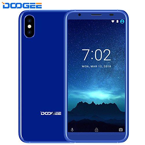 Moviles Libres Baratos - DOOGEE X55 - 5.5' HD + 18:9 Pantalla Smartphone Android 7.1 - Teléfono Dual SIM con Dual 8.0MP Cámara Trasera - 2800mAh -Procesador MT6580 - 16GB ROM - Huella Digital - GPS - Bluetooth - Azul