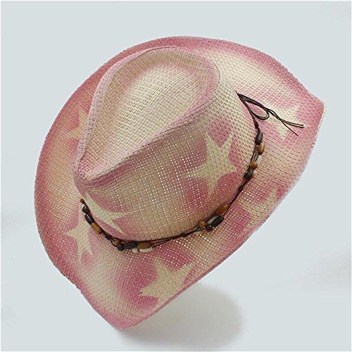 AJZGF Hollow Stroh Western Cowboy Hut Gentleman Cowgirl Jazz Cap Strand Sun Hut Hut ( Farbe : Pink , größe : 57-58cm )