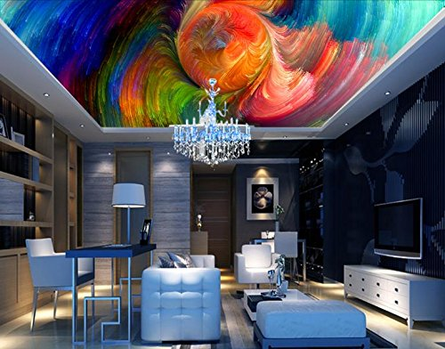 Kuamai 3D Photo Wall Mural Abstract colorful spiral 3D Wallpaper For Ceiling Wallpapers For Living room Decorative Paintings