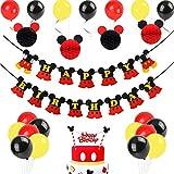 JOYMEMO Decorazioni di Compleanno di Topolino, Palline a Nido d'Ape in Carta Rossa Mickey Nero, striscioni di Buon Compleanno, Cake Topper per Topolino Party a Tema