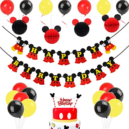 JOYMEMO Mickey Mouse Geburtstag Dekorationen, schwarz rot Mickey Paper Honeycomb Balls, Happy Birthday Banner, Cake Topper für Mickey Mouse Themenparty