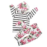 Search : Shiningup Baby Toddler Girl 2pcs Suit Hoodie Long Sleeve Pullover Striped Foral Printed Shirt Top and Long Pants Outfit