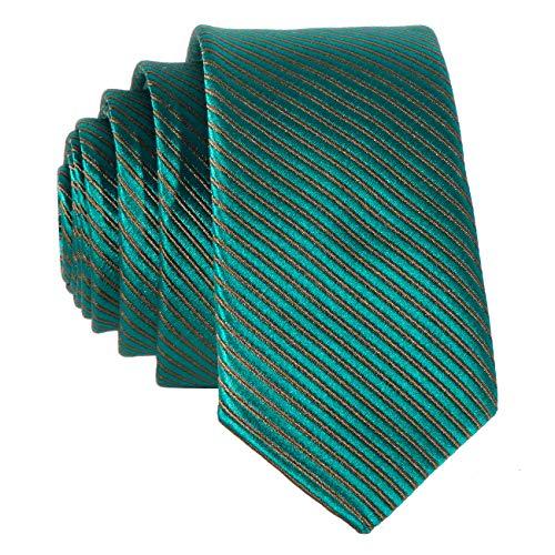 DonDon Corbata estrecha rayada 5 cm de color verde claro - hecho a mano // diferentes colores seleccionables