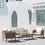 Poly Rattan Sitzgruppe Garnitur Gartenmöbel Essgruppe Gartengarnitur Sitzgarnitur für 4 Personen