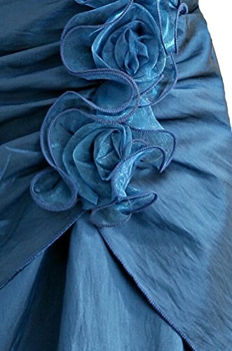 SMITHROAD Damen Cocktailkleid Knielang Edel mit Träger Satin und Tüll Abendkleid Ballkleid Tanzkleid Lila Blau Gr.32-46 Blau