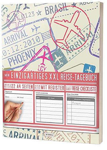 """Mein Einzigartiges XXL Reisetagebuch: 122 Seiten, Register, Kontakte / Neue Auflage mit Reise Checkliste / PR401 """"Reise-Stempel"""" / DIN A4 Soft Cover"""