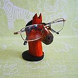 Lily&her friends Kreativer Brillenhalter aus Holz, handgeschnitzt, zum Basteln,, Einzigartige Tier-Form, aus Holz, Brillenhalter, Präsentationsständer für Zuhause, Büro, Schreibtisch Pferd