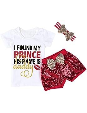 Babymode Neugeborene Kleidung Longra Baby Mädchen Brief Drucken Kurzarm Tops T-shirt und Pailletten Rot Shorts...
