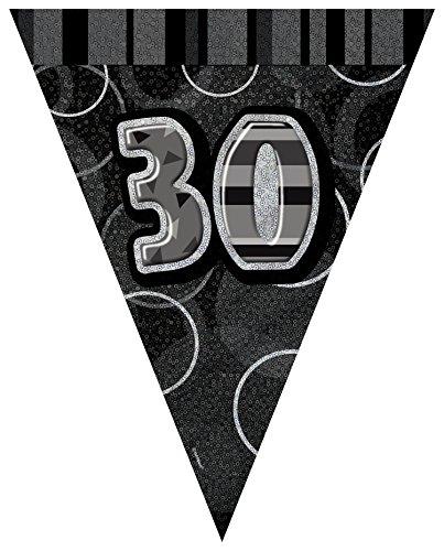 s 9ft Folie Glitz Schwarz 30. Geburtstag Wimpelkette Flaggen (Herr Der Ringe Party Supplies)
