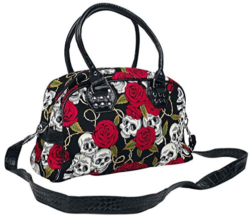 Banned Skulls And Roses Bolso Negro