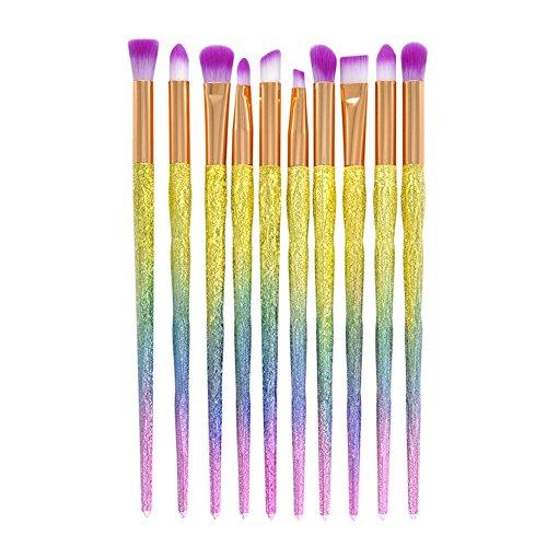 Gespout 10PCS Pinceau de Maquillage Professionnel pour Yeux Or Nylon Poignée en Plastique Fond de Teint Poudre Blush Différents Styles