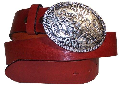 FRONHOFER echt Leder Gürtel, große Gürtelschnalle oval mit Strass, florale Gürtelschließe, 17032, Größe:Bundweite 85 cm = Gesamtlänge 100 cm, Farbe:Rot (Strass Western Gürtel)