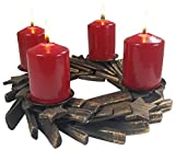 khevga Adventskranz modern aus Holz mit Kerzen und LED-Kerzen nutzbar