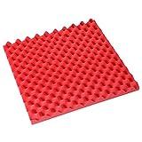 Godcraft Egg assorbimento acustico Insonorizzare studio piastrelle in schiuma espansa ad alta densità 50x 50x 3cm, Red, 50x50x3cm